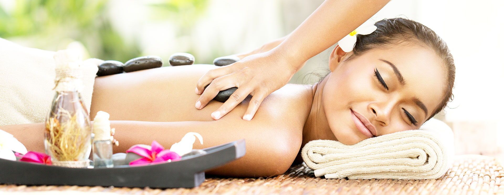 relaxed woman during a spa treatment