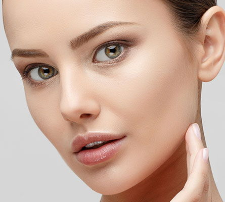 woman after a Round Face Treatment