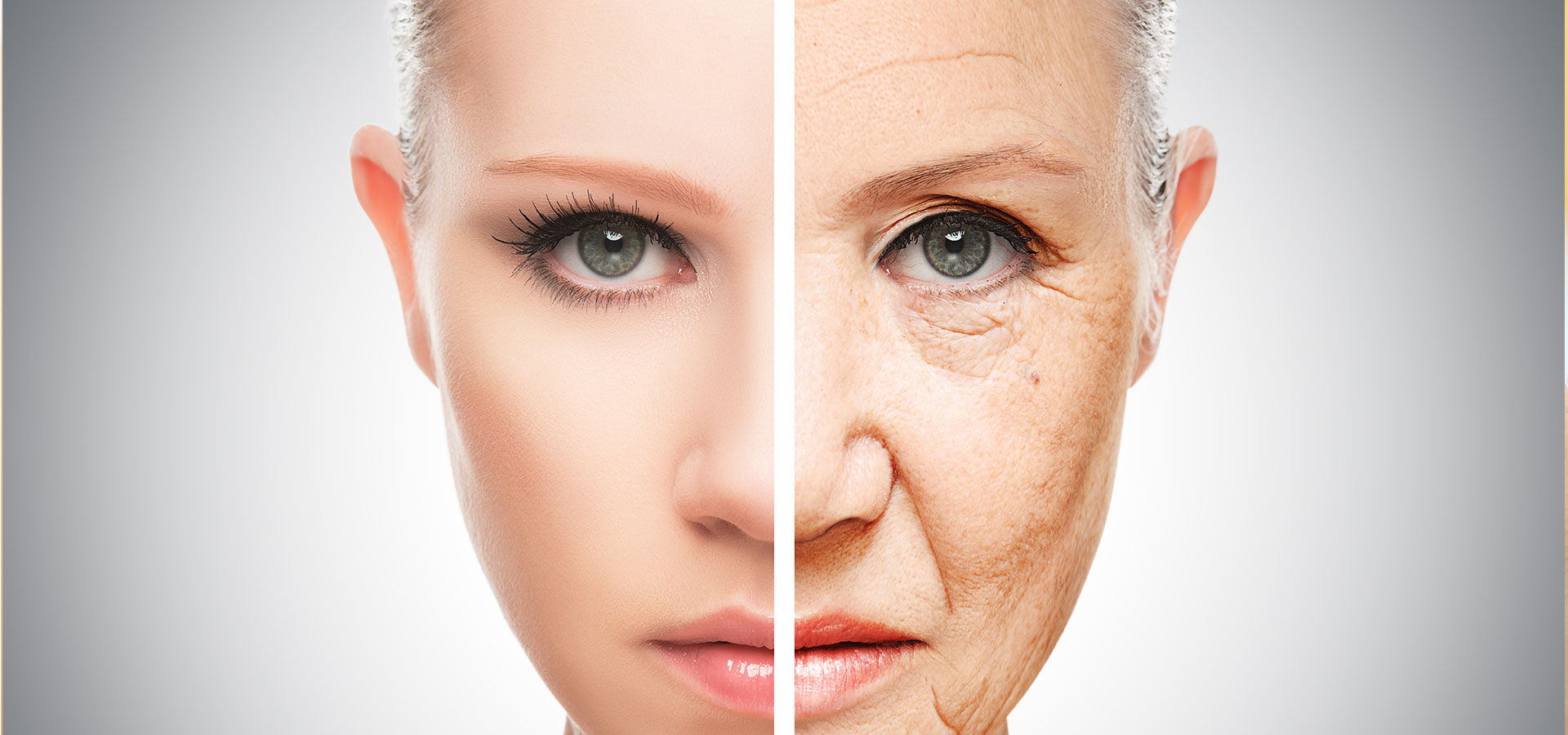 comparison of a womans face before and after a Collagen Building Wrinkle Treatment